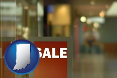 indiana map icon and a department store display advertisement
