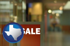 texas map icon and a department store display advertisement